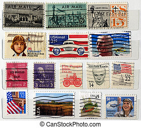 Range of USA postage stamps