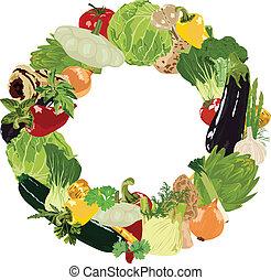range of vegetables on white backgr - vegetables and herbs...