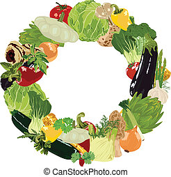 vegetables and herbs on white background