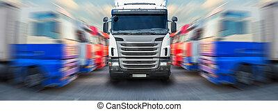 rangen, langs, vrachtwagen, gaat, vrachtwagens