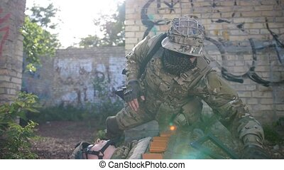 Ranger dragging away fallen soldier from combat - Special...