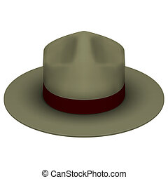 Ranger hat khaki green color. Isolated on white background....