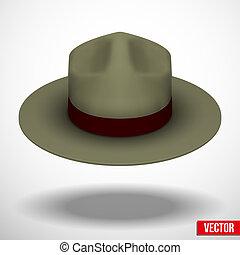 Ranger hat khaki green color. Symbol of protection and order. Vector Illustration.