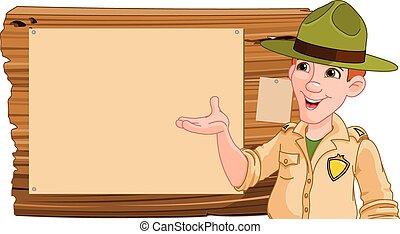 Illustration of a forest ranger or park ranger pointing at a wooden sign