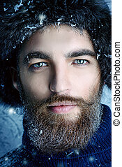 ranger - Portrait of a handsome brutal man with beard and...