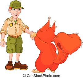 Ranger with squirrel - Illustration of park ranger are...
