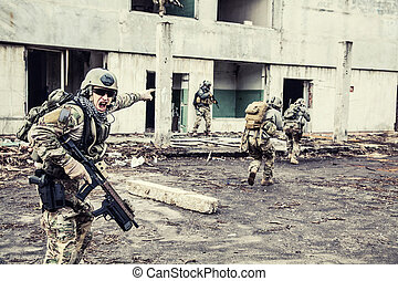 rangers in action - United States Army rangers during the...