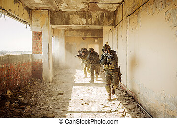 Rangers stormed the building occupied by the enemy -...