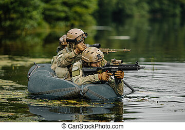 Rangers team ferried by boat across the river