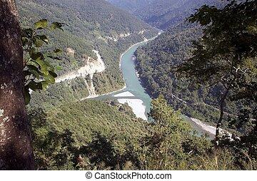 rangit, punto de vista, encima,  India, río,  teesta, río