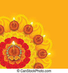 rangoli, diwali, flor, adornado, diya