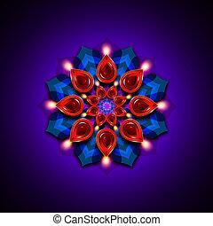 rangoli with diwali diya elements over dark background -...
