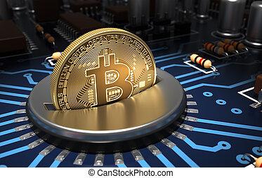 ranhura, azul, motherboard, bitcoin, pôr, moeda