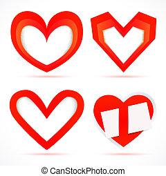 ranhura, forma, quadro, papel, vetorial, hearts., adesivos, cartões.
