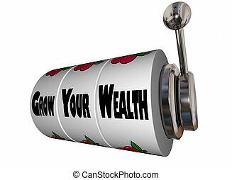 ranhura, ganhar, riqueza, dinheiro, ilustração, crescer, máquina, mais, seu, 3d