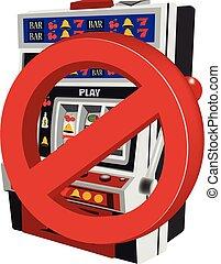ranhura, proibição, parada, máquinas