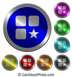 Rank component luminous coin-like round color buttons