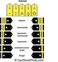 rank recognition in us navy vector illustration