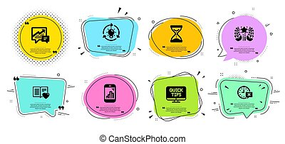 Ranking, Graph phone and Time hourglass icons set. Idea, Accounting and Love book signs. Vector