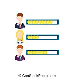 Ranking office worker icon, cartoon style