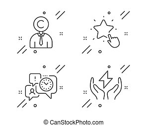 Ranking star, Copyrighter and Time management icons set. ...