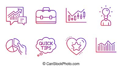 Ranking star, Pie chart and Quick tips icons set. Education...