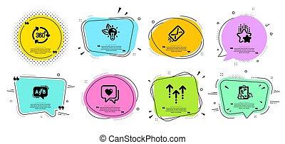 Ranking stars, Eco energy and Heart icons set. E-mail, ...