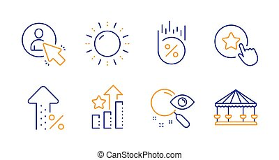 Ranking stars, Loyalty star and Sun energy icons set. Search...