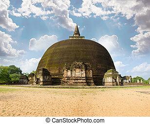 rankot, pináculo, dorado, 12, polonnaruwa, siglo, o, vihara, dagoba