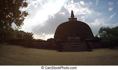 Rankoth Viharaya Stupa against a Cloudy Sky in Polonnaruwa,...