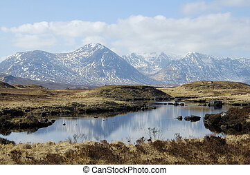 over Rannoch Moor and lochans to mountains of Glencoe