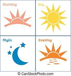 rano, dzień, wieczorny, noc, ikona, komplet