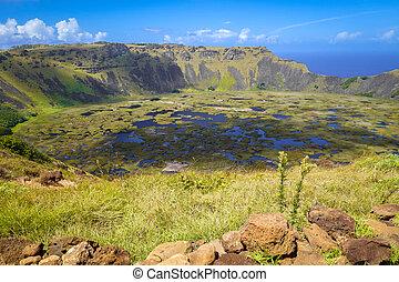 rano, kau, volcán, cráter, en, isla de pascua