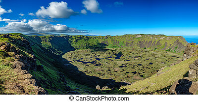 Rano kau volcanic crater panoramic view in Rapa Nui - Rano...
