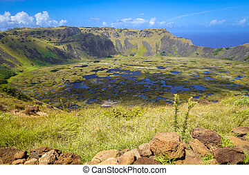 Rano Kau volcano crater in Easter Island, Chile