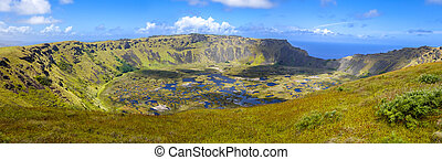 Rano Kau volcano crater in Easter Island panoramic view,...