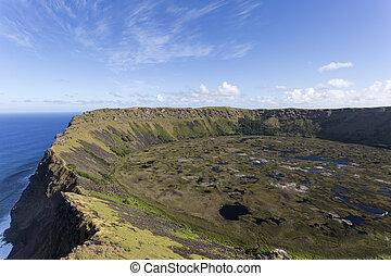 rano, kau, volcano., isla de pascua