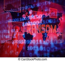 Ransom Computer Hacker Data Extortion 3d Illustration Shows...