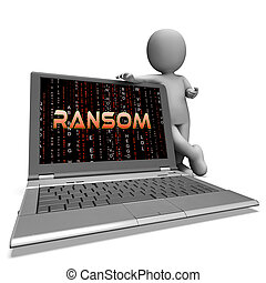 Ransom Computer Hacker Data Extortion 3d Rendering Shows...