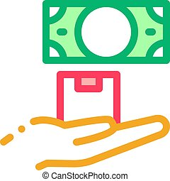 ransom for money at pawnshop icon vector outline ...
