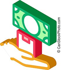 ransom for money at pawnshop isometric icon vector ...
