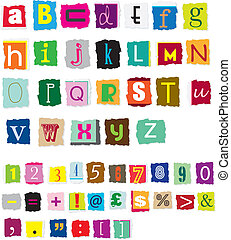 ransom style muddled alphabet - different styles of ransom ...
