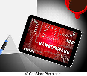 Ransom Ware Extortion Security Risk 2d Illustration Shows...