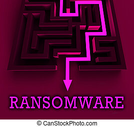 Ransom Ware Extortion Security Risk 3d Rendering Shows...