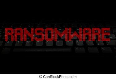 ransomware, テキスト, 上に, イラスト, 黒, キーボード, pixellated, 赤