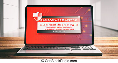 Ransomware attack on a computer laptop screen, wooden desk. 3d illustration