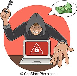 Ransomware attack scam cartoon of malware showing alert sign...