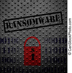 Ransomware lock concept - Ransomeware text with red lock on...