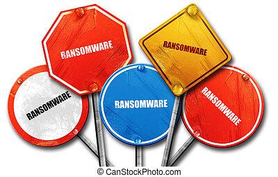 ransomware, straat, 3d, vertolking, tekens & borden
