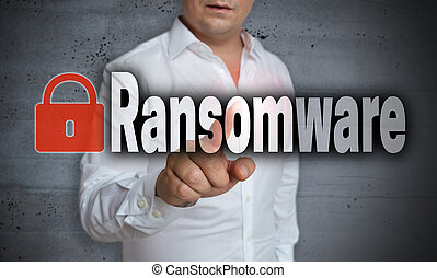 Ransomware touchscreen is operated by a man